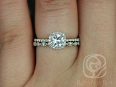 Barra 5mm & Ult Pte Bd Eye 14kt White Gold Round White Sapphire and Diamond Cushion Halo Wedding Set (Other Stone and Metals Available)