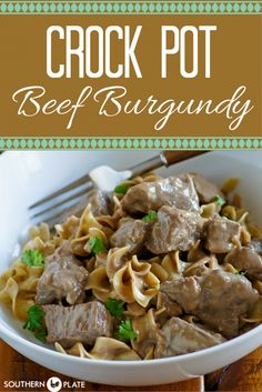 Crock Pot Beef Burgundy : A rich and deeply flavorful sauce with ultra tender chunks of beef waiting for you at the end of the day. Fall Crockpot Recipes, Slow Cooker Recipes, Beef Recipes, Cooking Recipes, Easy Recipes, Crockpot Meals, Crockpot Dishes, Aloo Recipes, Bon Appetit