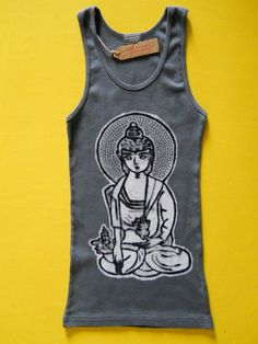 Yoga Meditating Buddha batik ribbed tank top hand by BAGANUS, $39.00