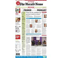 The front page of The Herald News for Sunday, Sept. 7, 2014.