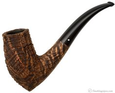 Cuts AND grains on this one. Becker Sandblasted Strawberry Wood Bent Billiard (Four Clubs) Pipes at Smoking Pipes .com