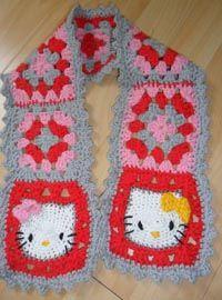 Hello kitty crochet  http://madebyk-tutorials.blogspot.com/2009/12/hello-kitty-granny-square-scarf-crochet.html