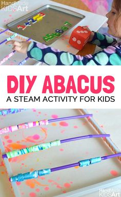 Recycle old artwork into a DIY abacus for kids. Easy to make and makes math learning fun!