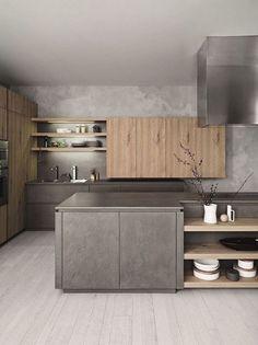 Grey Kitchen Designs, Contemporary Kitchen Design, Interior Design Kitchen, Modern Contemporary, Interior Modern, Kitchen Without Island, Island Kitchen, Kitchen Styling, Kitchen Decor
