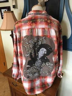 Upcycled Flannel Shirt Jimmy Hendrix Rock and Roll Hall of