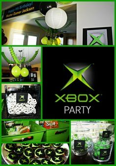 Ultimate XBOX birthday party! Green and black decorations, XBOX brownies, and XBOX themed treats and candy. A Thrifty Chic Living Exclusive!