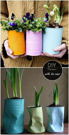 DIY Home: 6 great ideas for planters - tin cans - We Heart Home