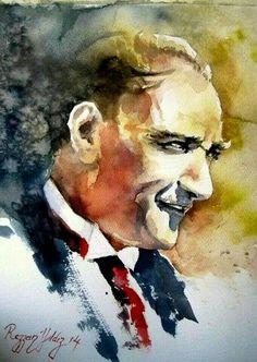 Ataturk Watercolor Illustration, Watercolor Paintings, Oil Painting Pictures, The Legend Of Heroes, Turkish Art, Portrait Art, Great Artists, Pop Art, Art Drawings