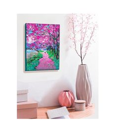 Cherry Blossom Painting, Spring Landscape, Floating Nightstand, Original Paintings, Wall Art, The Originals, Flowers, Gifts, Etsy