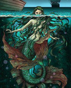 #gelpen #mixedmedia #drawing #draw #digitalart #illustration #mermaid #sea #fishtail #fantasy #creature #fairytail #bubug
