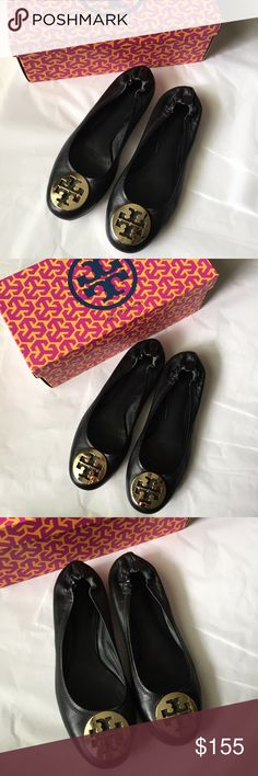 🎀Tory Burch Reva Flats in Box! Tory Burch Black Reva calf Ballerina! Leather with Gold tone emblem on front! Great condition! size 8. Comes with original box! Very close to like  new condition! Tory Burch Shoes Flats & Loafers
