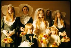 Photograph of a bride and her attendants in New Ulm, Minnesota. New Ulm, Minnesota, October 1974.