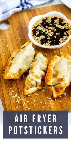 Learn how to make these easy Air Fryer Potstickers at home! Making them in the air fryer is a quick and easy way to enjoy these fan favorites. Easy Appetizer Recipes, Appetizers, Air Fryer French Fries, Best Air Fryers, Air Fryer Recipes, Side Dish Recipes, Good Food, Easy Meals, Favorite Recipes