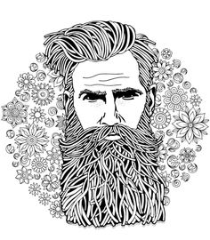 Bearded hipster man. Coloring book page for adult. Hand drawn ...