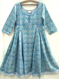 Boho chic Anokhi Teal & Blue Suzani Jali Hand block print Indian cotton Gypsy style Maxi DressNice fine cotton with scoop neckline, hand made buttons, side Girls Dresses Sewing, Stylish Dresses For Girls, Frocks For Girls, Casual Dresses, Stylish Dress Book, Girls Designer Dresses, Short Dresses, Winter Dresses, Sleeves Designs For Dresses