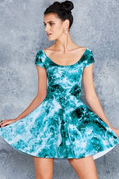 Troubled Waters Cap Sleeve Skater Dress - 48HR ($90AUD) by BlackMilk Clothing