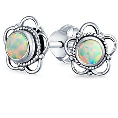 Bling Jewelry Bling Jewelry 925 Silver Synthetic Opal Birthstone... ($16) ❤ liked on Polyvore featuring jewelry, earrings, white, stud earrings, long silver earrings, silver flower earrings, birthstone stud earrings and birthstone earrings