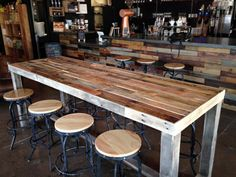 reclaimed wood bar counter community rustic custom kitchen coffee cocktail crafting work conference office meeting table tables beach cabin
