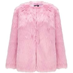 Miss Selfridge Pink Faux Fur Mid Length Coat ($106) ❤ liked on Polyvore featuring outerwear, coats, jackets, pink, faux fur coat, miss selfridge, fake fur coat, imitation fur coats and mid length coat