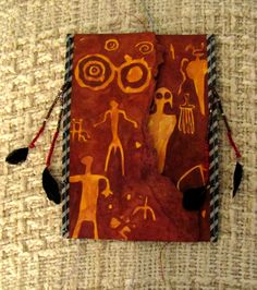 Handpainted Hopi Book - Petroglyph covers embellished with beading and feathers