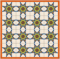 (7) Name: 'Quilting : Feathered Sunflower Star Template Block