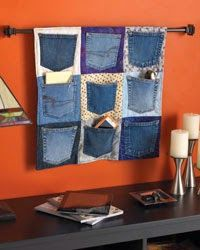 Up-cycling is the way to go and rather than waste old denims why not use the pockets for a hanging place to store odds and ends. This is easy to make and takes almost no time.
