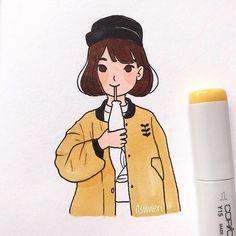 Girly Drawings, Art Drawings Sketches, Easy Drawings, Marker Kunst, Marker Art, Cute Art Styles, Cartoon Art Styles, Art And Illustration, Cute Sketches