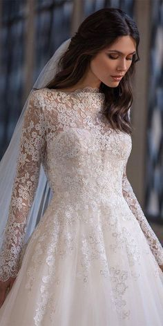 36 Lace Wedding Dresses That You Will Absolutely Love   lace wedding dresses with long sleeves details pronovias #weddingforward #wedding #bride Lace Wedding Dress With Sleeves, Tea Length Wedding Dress, Gowns With Sleeves, Lace Dress, Affordable Wedding Dresses, Modest Wedding Dresses, Wedding Gowns, Wedding Bride, Wedding Stuff