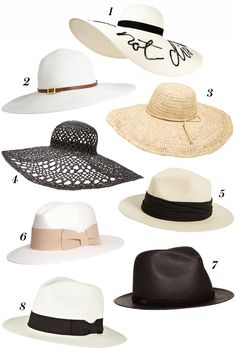 Our 8 favorite hat styles for summer.                                                                                                                                                      More
