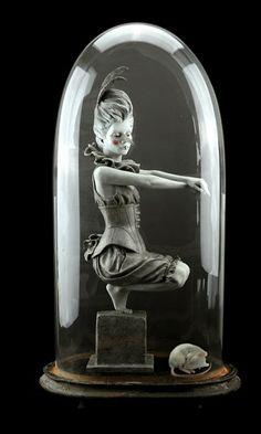 Loveless bird by Rachel Ann Stevenson Bronze Sculpture, Sculpture Art, Modern Sculpture, Statues, The Bell Jar, Bell Jars, Doll Display, Glass Boxes, Beautiful Mind