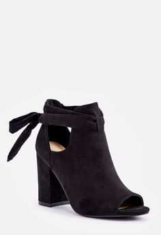 3d9f5ff3bc53 Bowa Tie Back Open Toe Bootie in Black - Get great deals at JustFab Tie  Backs