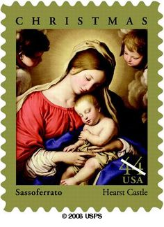 """Since 1978, the theme of each """"traditional"""" Christmas stamp has been the Madonna and Child. The 2009 Christmas stamp features Madonna and Sleeping Child, a painting by Italian artist Giovanni Battista Salvi, (1609–1685), more commonly known as Sassoferrato."""