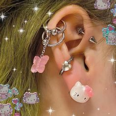 Ear Jewelry, Cute Jewelry, Body Jewelry, Jewelery, Jewelry Accessories, Aesthetic Grunge, Pink Aesthetic, Aesthetic Clothes, 80s Fashion Party