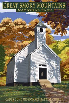 Cades Cove Baptist Church - Great Smoky Mountains National Park, TN - Lantern Press Poster