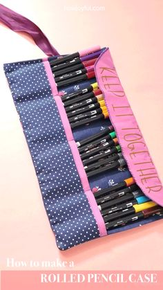 Learn how to make a rolled pencil case using your Cricut machine Learn how to cut fabric using your Cricut Explore Air to create an easy pencil case and check out 5 reasons why I love my cutting machine. Diy Sewing Projects, Sewing Projects For Beginners, Sewing Hacks, Sewing Tutorials, Sewing Crafts, Tape Crafts, Diy Crafts, Roll Up Pencil Case, Diy Pencil Case
