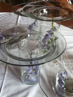 Diy Serving Platters Hot Glue Dollar Store Plates To Top Of Vases Or