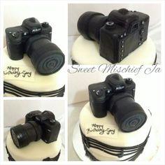 Nikon camera and Music cake Nikon Digital Camera, Camera Nikon, Novelty Cakes, Cake Decorating, Sweet, Music, Inspiration, Candy, Musica