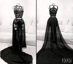 Creepy dress   #halloween #dress #creepy #cute #goth #alternative #fashion #design #mesh #harness #chains #metal #black #devil #skeleton #ribbon #longdress #askasu #tailor #hautecouture #zombie #fashiondesigner #sewing #nugoth #darkfashion #beauty #pain #art