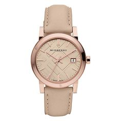 Buy Burberry BU9109 Women's The City Leather Strap Watch, Cream / Rose Gold Online at johnlewis.com