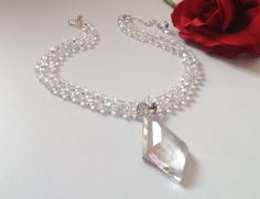 Crystal Pendant with double strand of crystals by BlkBttrflyDsgns
