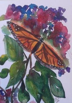 Items similar to Monarch Butterfly in the Indian Garden - original watercolour, by Vicky Curtin on Etsy Indian Garden, Monarch Butterfly, Watercolour, Paintings, The Originals, Plants, Pen And Wash, Watercolor Painting, Paint