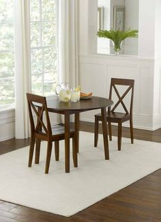 Linon Home Espresso Drop Leaf Dining Set. 3 Piece ...