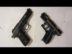 Lego technic Pistol instruction - YouTube Lego Guns, Tactical Pistol, Crawler Crane, Lego Projects, Lego Technic, Pontiac Firebird, Legos, Hand Guns, Brick