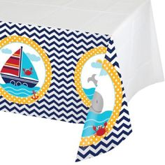 cute NOAH/'S ARK theme all over decorated plastic party table cloth 54 x 84 inch