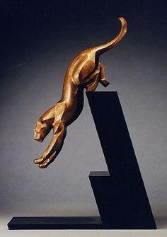 Art Deco Cheetah Sculpture by Jan Rosetta Art Sculpture, Animal Sculptures, Metal Sculptures, Abstract Sculpture, Art Nouveau, Metal Art, Wood Art, Statue Ange, 3d Prints