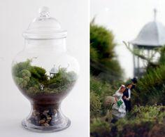 Check out the cute tiny couple inside the terrarium. Large Terrarium, Terrarium Wedding, Miniature Fairy Gardens, Miniature Houses, Garden Inspiration, Garden Ideas, Wedding Inspiration, Wedding Ideas, Low Light Plants