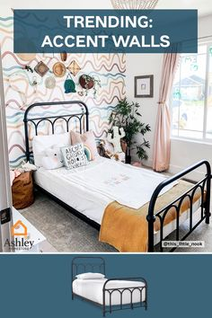 Accent walls are in! To compliment your accent wall, grab a simple bed frame to let the wall shine through! Shop our wide range of bedroom pieces now at Ashley HomeStore. Simple Bed Frame, Stylish Bedroom, Accent Walls, Play Houses, Bedroom Furniture, Beautiful Homes, Mattress, Mid-century Modern, Mid Century