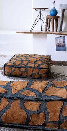 Leather Pillow, Leather Art, Sewing Tutorials, Sewing Crafts, Sewing Projects, Diy Pillows, Decorative Pillows, Fabric Manipulation Techniques, Deco Marine