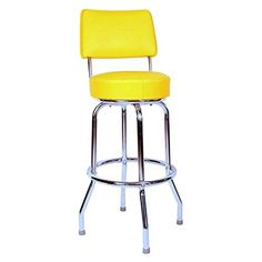 "Richardson Seating Swivel bar Stool with Back Chrome Frame and Yellow Seat, 24"""