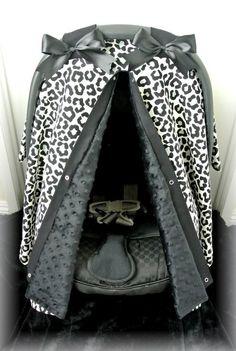 MINKY, car seat canopy, car seat cover, cheetah, black, polka dot, chevron, girly, bows, baby car seat, infant girl, baby girl, baby, zebra